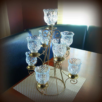 ORNATE VINTAGE REGENCY Table Centerpiece Elegant Crystal Cut Glass Tall Votive Candle Holder with Gold Tone Brass Base Tea Light Candelabra