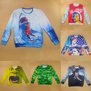 Raisevern New Harajuku 3D Sweatshirt Men Womens Casual Hoodie Jordan/Hulk Shrek/Cuke/Kanye West Print Clothes