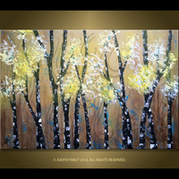 Landscape Painting THE WILDERNESS, Contemporary Art, Gold Bronze Black Yellow White blue, wall decor, Home decor, Acrylic Textured Painting