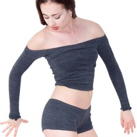 Off Shoulder Sexy Sweater & Matching Low Rise Yoga Dance Shorts High Quality Made In USA