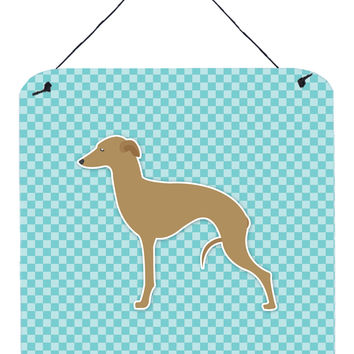 Italian Greyhound Checkerboard Blue Wall or Door Hanging Prints BB3714DS66