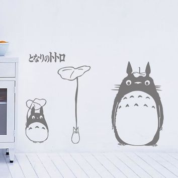 Cartoon characters totoro Japanese anime wall stickers Hayao miyazaki animation wall Glass stickers kids