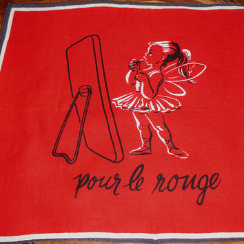 """French Hankie, Made in France, Ladies Hankie, """"Pour Le Rouge"""" Collectible, Keep sake, Red hankie, Birthday, Shower, Vintage Handkerchief"""