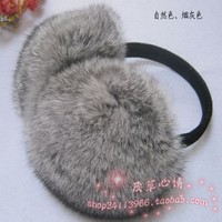 NEW Real Rabbit Fur Earmuff Large Fashion Warm Soft Ear Wrap (smoke grey)