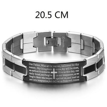 Male Black/Silver Stainless Steel Lord's Prayer + Cross Bracelet