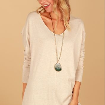 Contemporary V-Neck Sweater Oatmeal