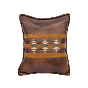 Cowgirl Kim Native American Inspired Faux Leather and Suede Pillow