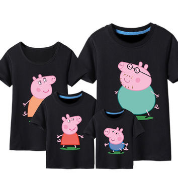 Summer 2016 family tees cotton Cartoon Animal Print T Shirt dad mum baby t shirts cotton kids clothes children clothing DC46
