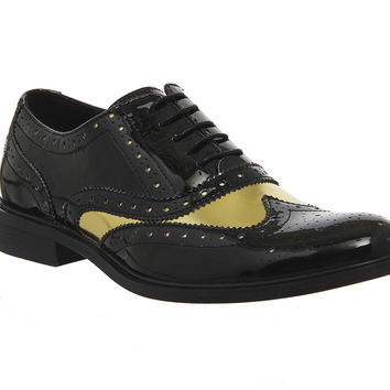 Office Bhatti Brogues Black Hi Shine Leather Gold - Smart