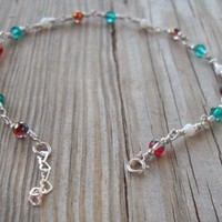 Handmade 925 Sterling Silver Colorful Anklet 925 Sterling Silver Wire,heart Shaped Chain,seed Beads,split,spring Rings Handpainted Glass Beads 4mm Emerald Swarovski Crystal 4mm Beads White Agate Beads 3mm 23.5-25.5 Cm Long Brand New