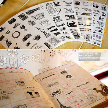 6pcs Cute Diary Decoration Scrapbooking Transparent Stationery Planner Sticker L