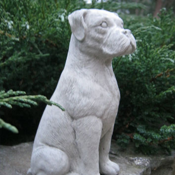 Boxer Dog Concrete Statue