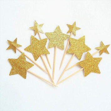 Two Size Gold Star Cupcake Topper - Gold Glitter Cupcake Star - Big and Small Stars Golden Party Cake Picks - Cupcake Toothpick Gold Party
