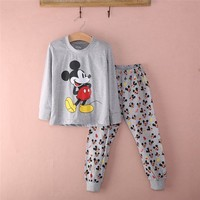2016 New Fashion Kids Baby Boys Cartoon Pajama Sets 2PCs Children Sleepwear Homewear Sleepwear Long Sleeve Gray Pajamas set