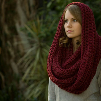 Infinity Scarf, Burgundy Chunky Scarf, Red Women's Winter Accessories