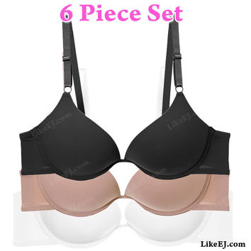 6pack of Classic Deep V Plunge Style Gente Push Up U Bra #68601