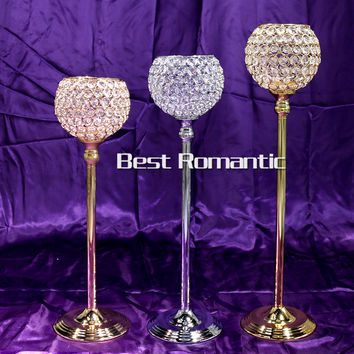 73cm height Gold crystal wedding decoration candle holders event candlesticks party candle stand centerpiece candelabra