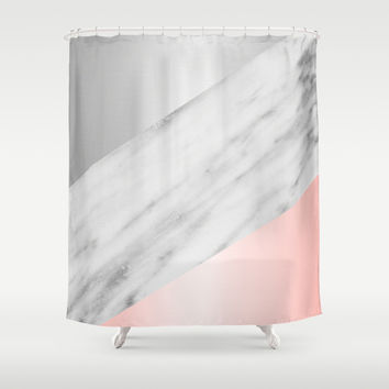 pink grey shower curtain. Pink Grey and Marble Collage Shower Curtain by Cafelab Best Curtains With Products on Wanelo