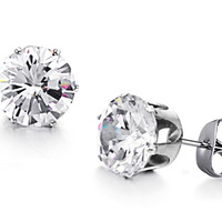 Stylish Accessory Titanium White Zircon Crystal Stud Earrings for Fall Winter [9047548743]