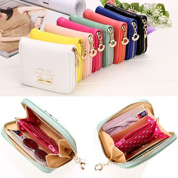 n Bowknot Small Purse PU Artificial Leather Wallet