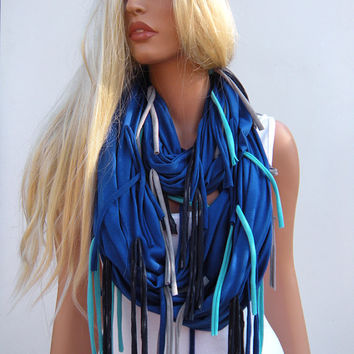 SALE Fringe La La Nomad Cowl Fall fashion Infinity Scarf with fringes New design by NeckRag.