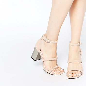 Senso | Senso Robbie V Blush Suede Block Heeled Sandals at ASOS