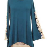 PLUS SIZE CROCHET DETAIL BELL SLEEVE TUNIC TOP