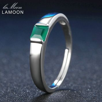 LAMOON Classic Pricess cut 4mm 0.23ct Green Agate Chalcedony 925 Sterling Silver Jewelry Platinum Wedding Ring S925 LMRI006