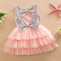 Toddler Girls Sequined Bow Dress