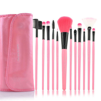 12-pcs Pink Black Make-up Brush Set [4918365764]