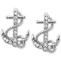 Fossil Silver-Tone Pavé Anchor Stud Earrings