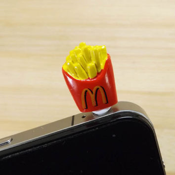 Cute MCD French Chips Fries Anti Dust Plug 3.5mm Smart Phone Dust Stopper Earphone Cap Headphone Jack Charm for iPhone 4 4S 5 HTC Samsung