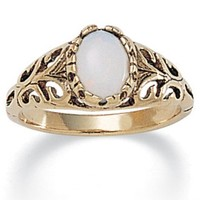 PalmBeach Jewelry 3/4-CT Oval-Cut Genuine Opal 14k Plated Antique-Finish Classic Filigree Ring