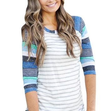 Light Blue Stripes Raglan Sleeve Womens Top