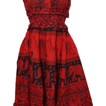 Bohemian Dress V-neck Animal And Floral Printed Cotton Red Peasant Dresses