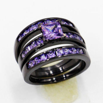 Victoria Wieck Dazzling lady Engagement Amethyst Simulated Diamond 10KT Black Gold Filled 2 Wedding band Ring Sets Sz 5-11 Gift