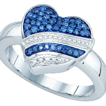 Blue Diamond Heart Ring in 10k White Gold 0.33 ctw