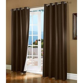 (#32) Hotel Quality SILVER Grommet Top, FAUX SILK  1 PANEL BROWN SOLID THERMAL FOAM LINED BLACKOUT HEAVY THICK WINDOW CURTAIN DR