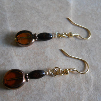 Bamboo Wood Earrings Copper Paned Dark Brown Glass Bead Jewelry Antiqued Chestnut Chocolate