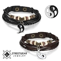 Ying Yang His And Her's Couples Leather Bracelet 2Pc Set