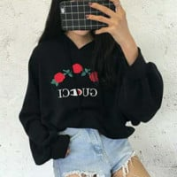 """""""GUCCI""""Fashion  long sleeve Sweater chest three flower embroidery Pullover top"""