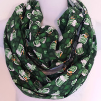 Irish Infinity Scarf St Patricks Day Scarf Beer Circle Scarf Holiday Eternity Loop St Pattys Day Scarf Saint Patricks Day Shamrock Scarf