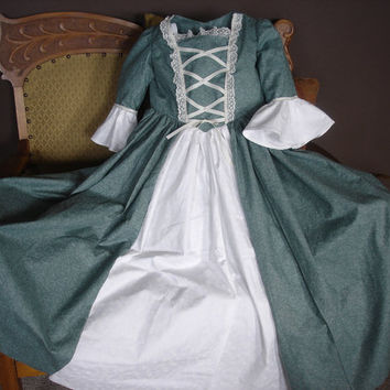 Custom Child Girl Williamsburg Colonial Dress Costume Size 3 to 14