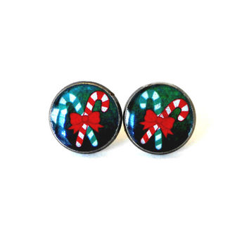 Christmas Earrings, Holiday Jewelry, Candy Cane Red Bow Green Red Stripes Xmas Jewelry
