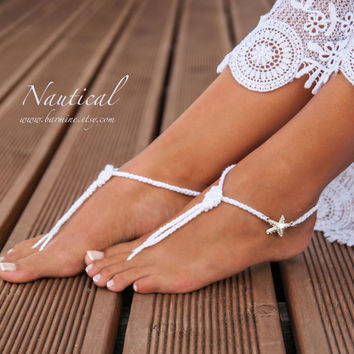 b55f78ba38b725 Nautical Bridal Foot jewelry-Rhinestone Starfish Beach wedding White Crochet  Knot Barefoot Sandals-Bridal