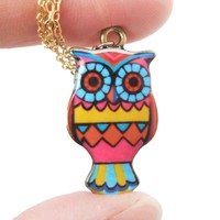 Owl Bird Shaped Geometric Print Illustrated Resin Pendant Necklace | DOTOLY