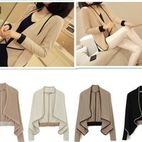 Fashion Women Spring Fall Casual Korean Long Sleeve Loose Mini Coat Fit US XXS-M