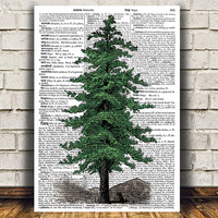 Pine tree poster Forest print Antique print Dictionary decor RTA1131