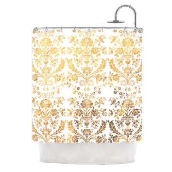 "KESS Original ""Baroque Gold"" Abstract Floral Shower Curtain"