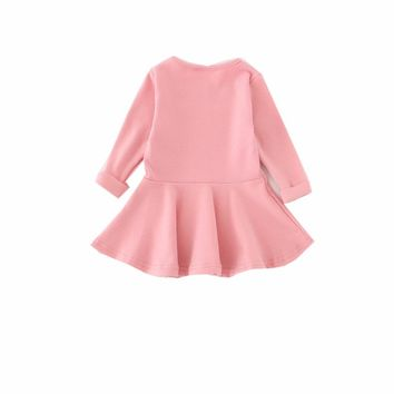 Spring Autumn Cotton Baby Girls Clothing Long Sleeve Solid Princess Dress Bow-knot O-neck Casual Kids Pleated Dresses